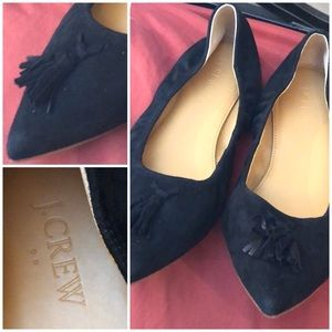 J.CREW Suede Tassel Pointed Toe Flats
